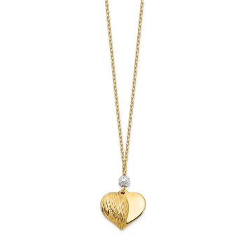 14K Two Tone Polished & D/C Puffed Heart 18 inch Necklace