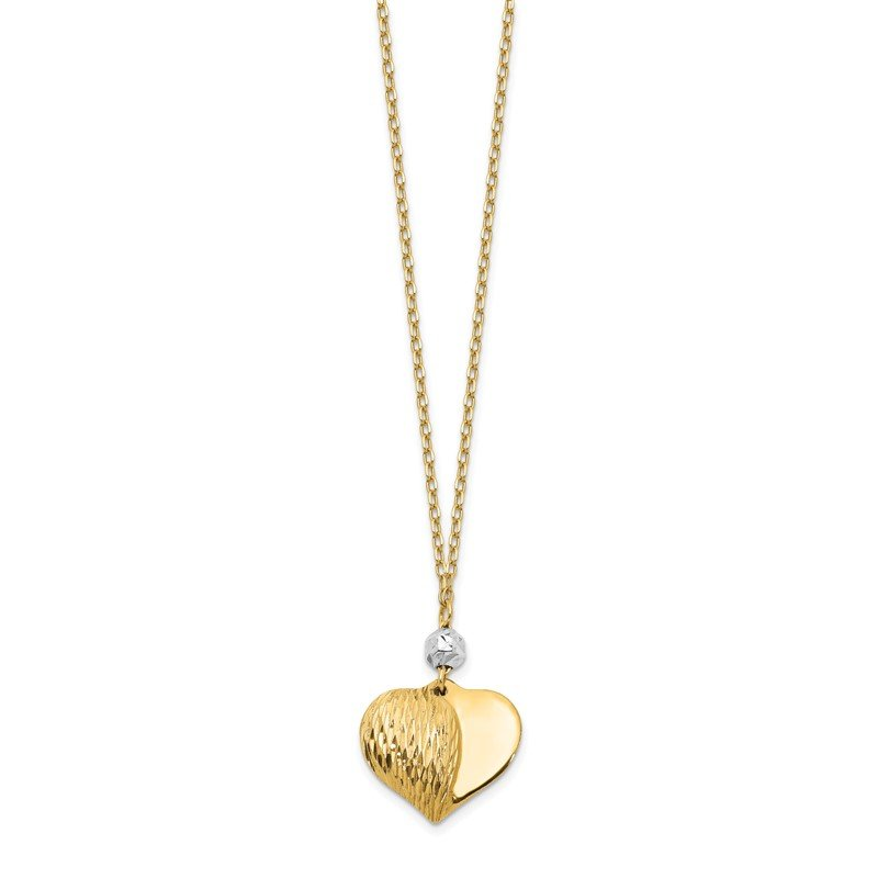 Quality Gold 14K Two Tone Polished & D/C Puffed Heart Necklace