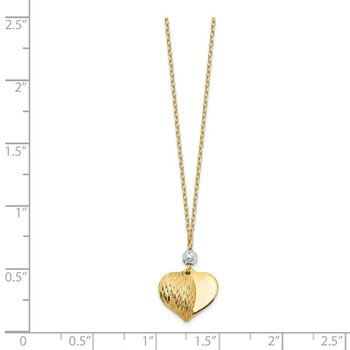 14K Two Tone Polished & D/C Puffed Heart Necklace