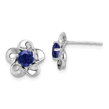 Sterling Silver Rhodium-plated Floral Created Sapphire Post Earrings