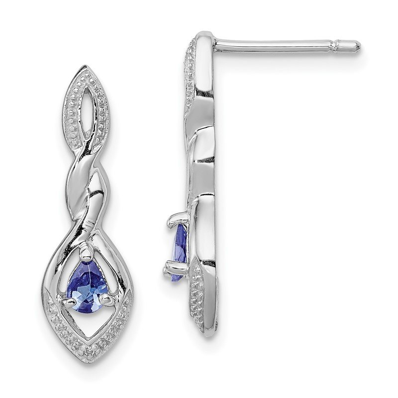 Quality Gold Sterling Silver Rhodium Plated Diamond and Tanzanite Post Earrings