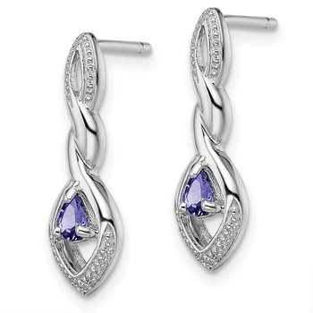 Sterling Silver Rhodium Plated Diamond and Tanzanite Post Earrings