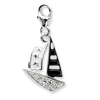 Sterling Silver 3-D Enameled Sailboatw/Lobster Clasp Charm