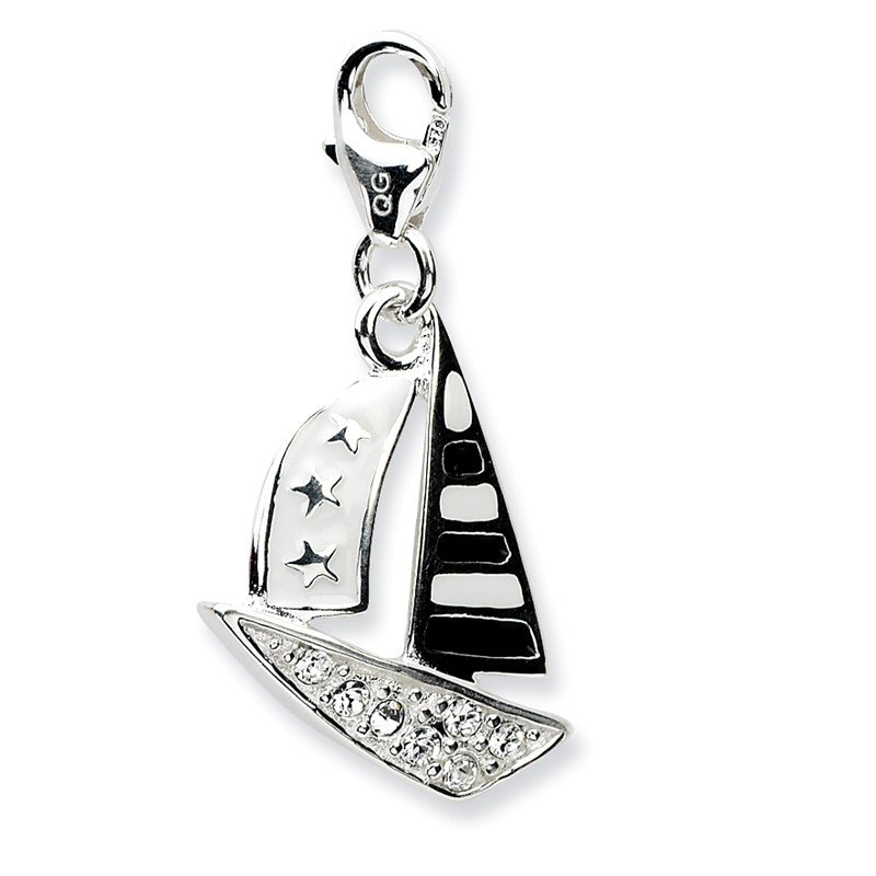 Quality Gold Sterling Silver 3-D Enameled Sailboatw/Lobster Clasp Charm