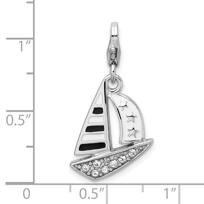 Quality Gold Sterling Silver Amore La Vita Rhodium-pl 3-D Enameled Sailboat Charm