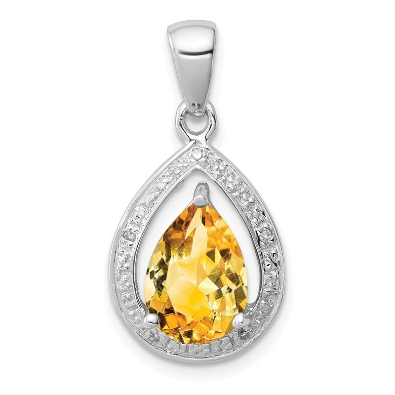 Quality Gold Sterling Silver Rhodium Citrine & Diamond Pendant