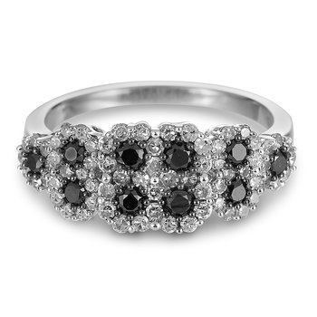 925 Sterling Silver and Black Diamond Ring
