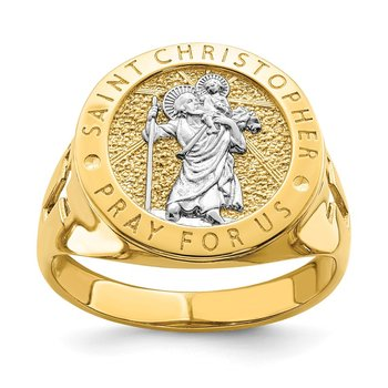 14K w/Rhodium Saint Christopher Ring