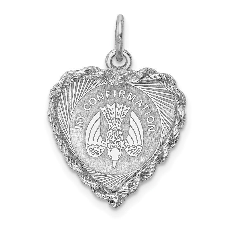 Quality Gold Sterling Silver Rhodium-plated My Confirmation Disc Charm