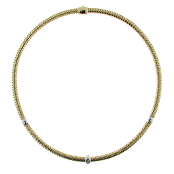 18Kt Gold Diamond 3 Station Collar