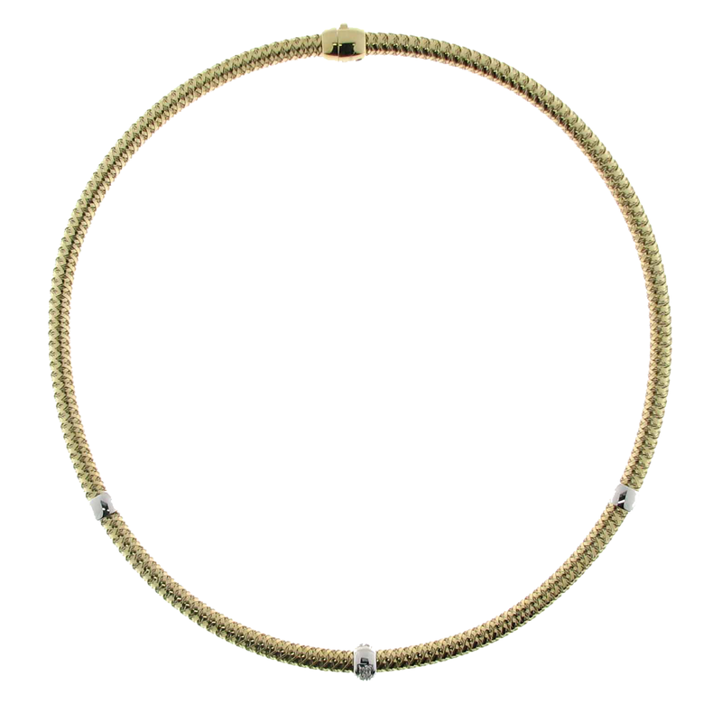 Roberto Coin 18Kt Gold Diamond 3 Station Collar