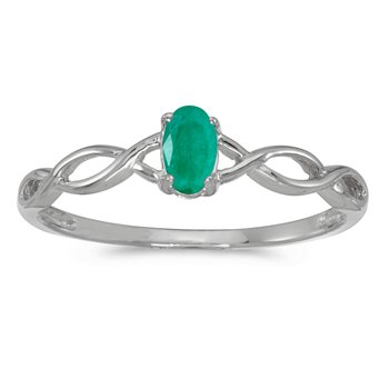 14k White Gold Oval Emerald Ring