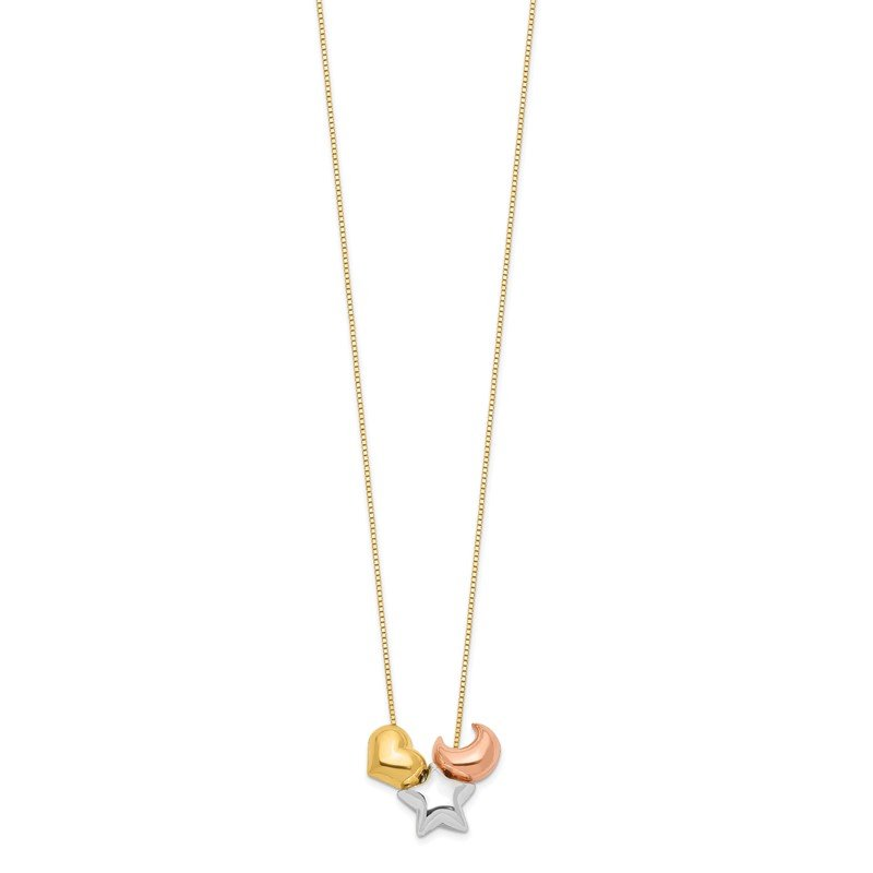 Quality Gold 14k Tri-color Heart, Star & Moon Necklace