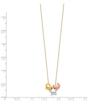 14k Tri-color Heart, Star & Moon Necklace