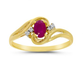 10k Yellow Gold Oval Ruby And Diamond Ring