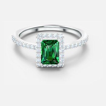 Angelic Rectangular Ring, Green, Rhodium plated