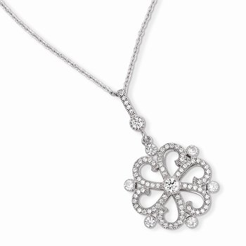 Sterling Silver & CZ Brilliant Embers Flower Necklace