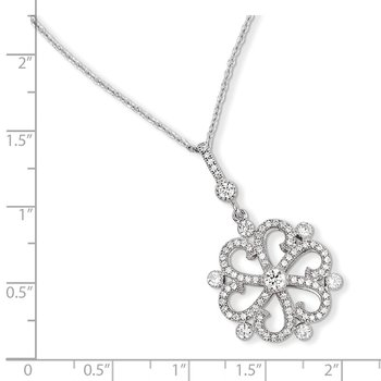 SS Rhodium-Plated CZ Brilliant Embers Flower Necklace