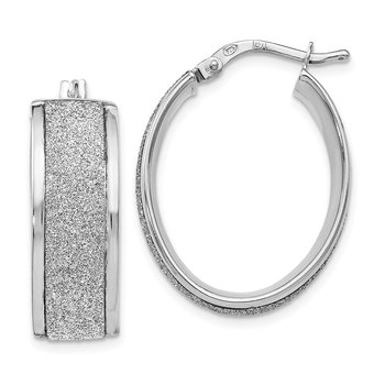 Leslie's Sterling Silver Glimmer Infused Oval Hinged Hoop Earrings