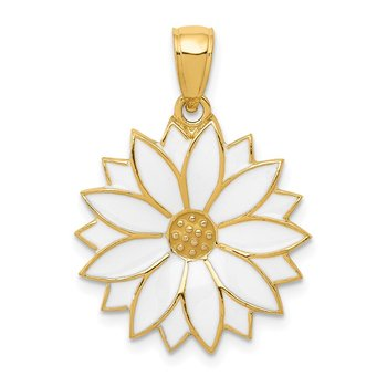 14k Enameled White Daisy Flower Pendant