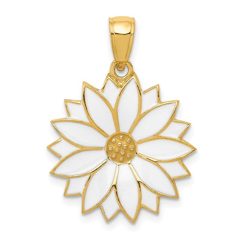 Quality Gold 14k Enameled White Daisy Flower Pendant