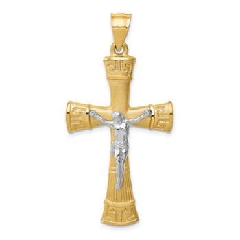 14K Two-tone Brushed & Polished Greek Key Crucifix Pendant