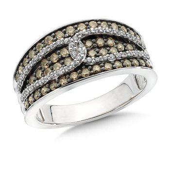 Pave set, Overlaid Link Design Cognac and White Diamond Fashion Ring in 14k White Gold (3/4 ct.tw.)