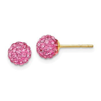14k Rose Crystal 6mm Post Earrings