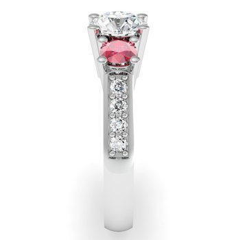Three Stone Ruby Pave Set Diamond Ring