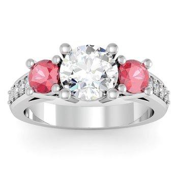Three Stone Ruby Pave Set Diamond Ring