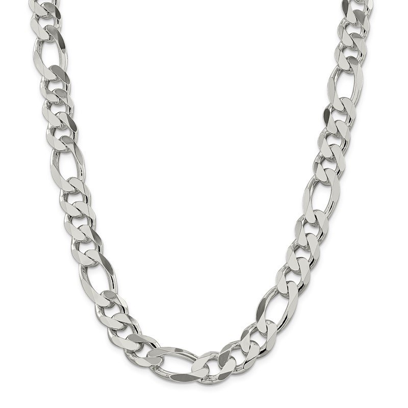 Quality Gold Sterling Silver 13.5mm Figaro Chain