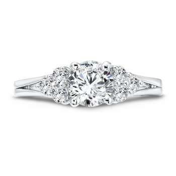 Classic Elegance Collection Diamond Engagement Ring With Side Stones and Split Shank in 14K White Gold with Platinum Head (3/4ct. tw.)