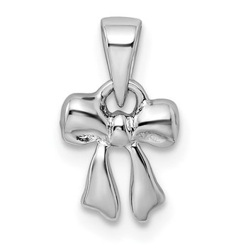 Sterling Silver Rhodium-plated Polished Bow Pendant