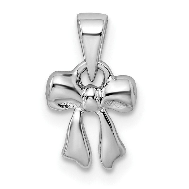 Quality Gold Sterling Silver Rhodium-plated Polished Bow Pendant