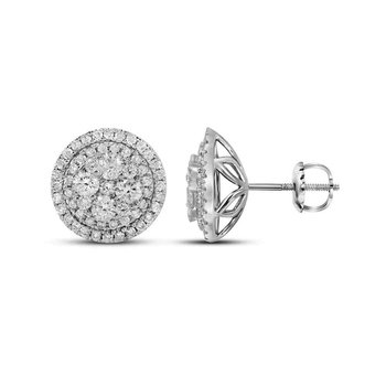 14kt White Gold Womens Round Diamond Framed Flower Cluster Earrings 1-3/4 Cttw