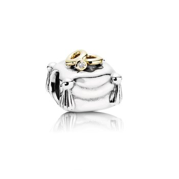Wedding Rings, two rings on pillow silver charm, 14k, 0.004ct TW h/vs diamond