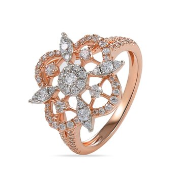 18K Flower motif ring 81 Diamonds 0.92C