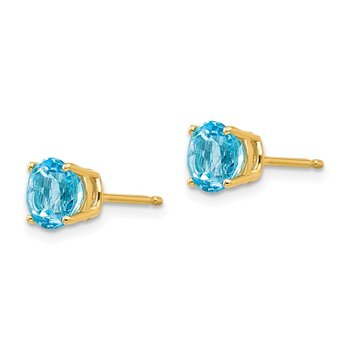 14k 6mm Blue Topaz Earrings