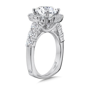 Halo Engagement Ring with Side Stones in 14K White Gold with Platinum Head (3ct. tw.)