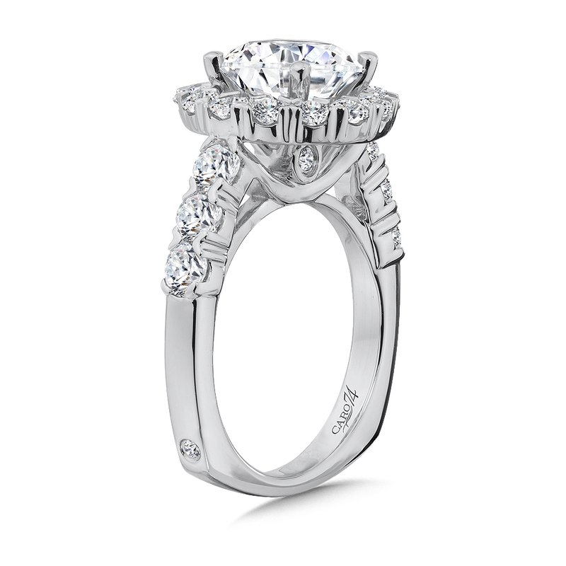 Caro74 Halo Engagement Ring with Side Stones in 14K White Gold with Platinum Head (3ct. tw.)