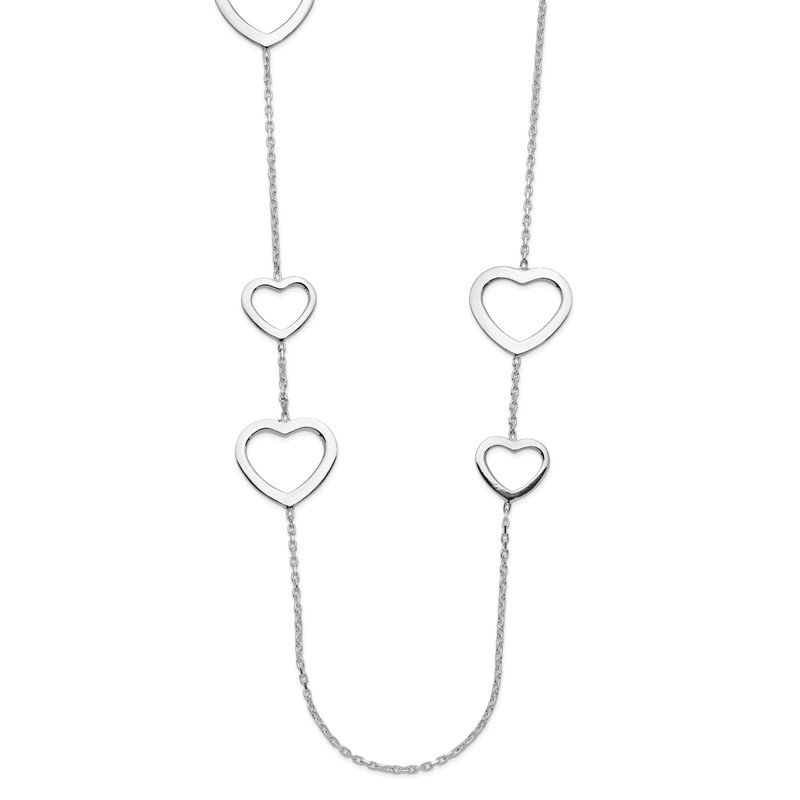Quality Gold Sterling Silver Polished Hearts Necklace