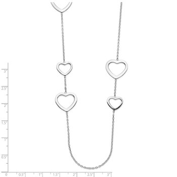 Sterling Silver Polished Hearts Necklace