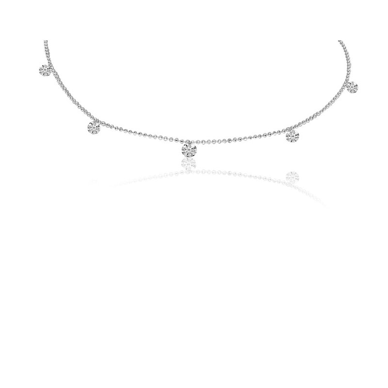 "Color Merchants 14K White Gold 0.55 Diamond By The Yard Necklace with 18"" Chain"