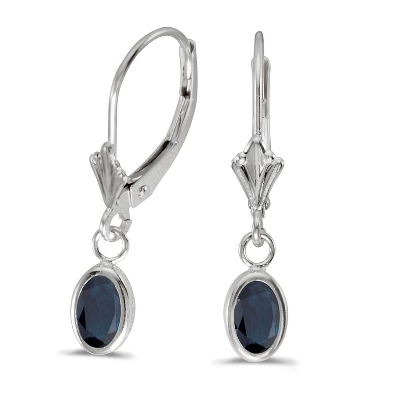 Color Merchants 14k White Gold Oval Sapphire Bezel Lever-back Earrings