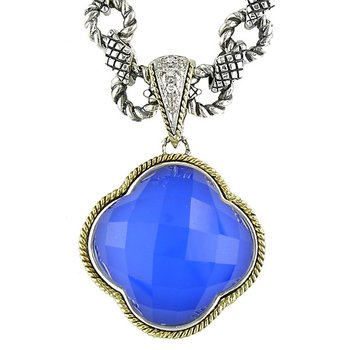 18kt and Sterling Silver Doublet Blue Agate Clover Diamond Pendant with Signature Chain