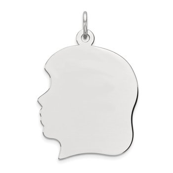 Sterling Silver Rhod-plate Eng. Girl Polished Front/Satin Back Disc Charm