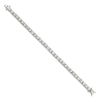 Sterling Silver Baguette and Round CZ Bracelet