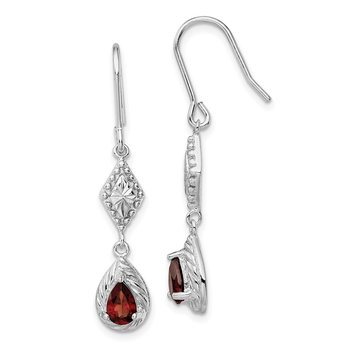 Sterling Silver Rhodium-plated Dark Red CZ Dangle Earrings