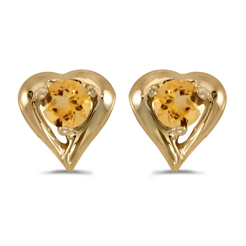 Color Merchants 10k Yellow Gold Round Citrine Heart Earrings