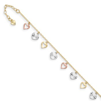 14K Tri-Color Heart 9in Plus 1in ext Anklet